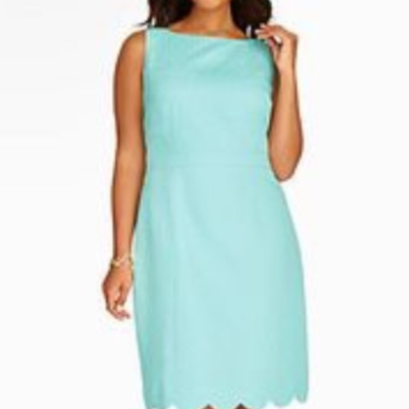 Talbots Turquoise scallop shift dress Plus size